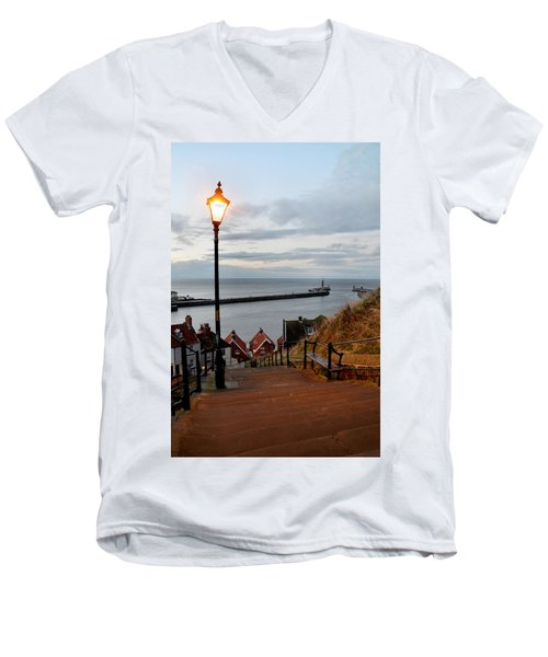 Whitby Steps Blue Hour Men's V-Neck T-Shirt