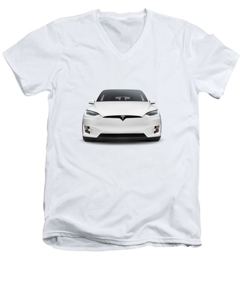 White 2017 Tesla Model X Luxury Suv Electric Car Front Isolated Art Photo Print Men's V-Neck T-Shirt