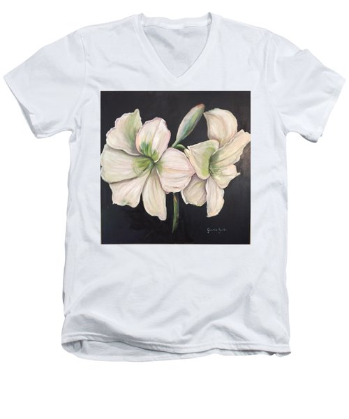 White Amaryllis  Men's V-Neck T-Shirt