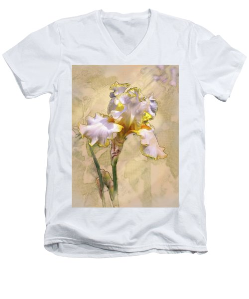White And Yellow Iris Men's V-Neck T-Shirt