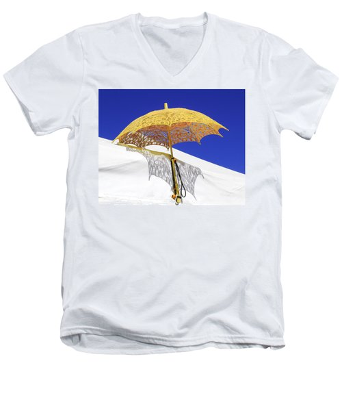 White At Base And Yellow On Blue Men's V-Neck T-Shirt
