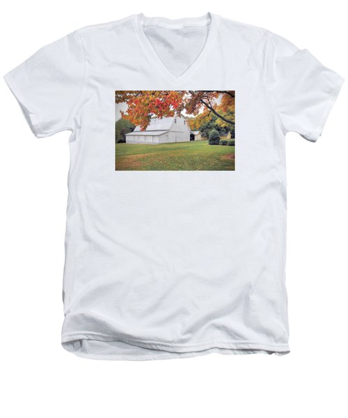 White Barn In Autumn Men's V-Neck T-Shirt by Marion Johnson