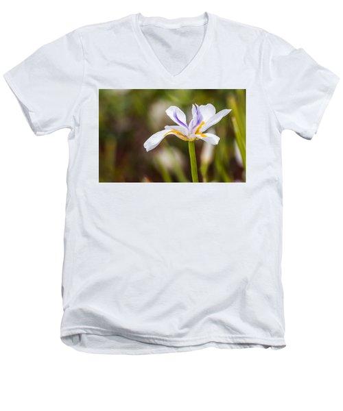 White Beardless Iris Men's V-Neck T-Shirt