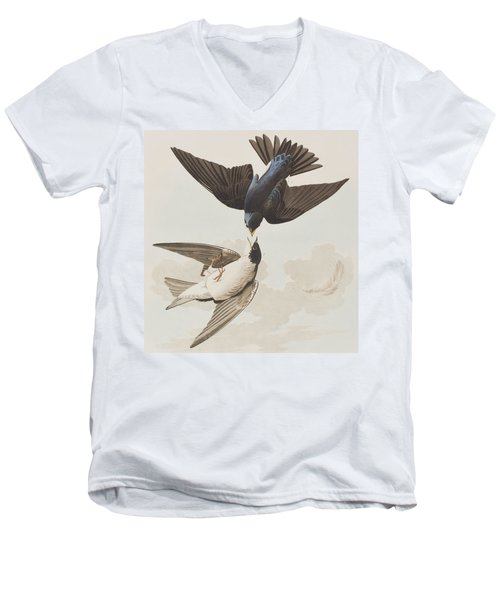 White-bellied Swallow Men's V-Neck T-Shirt by John James Audubon