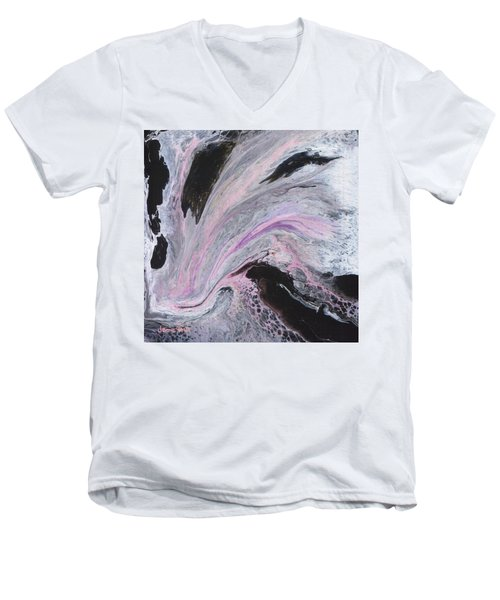 Men's V-Neck T-Shirt featuring the painting White/black/pink by Jamie Frier