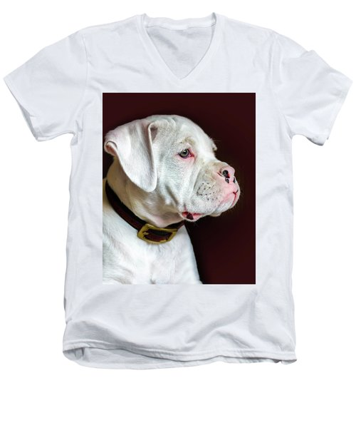 Men's V-Neck T-Shirt featuring the photograph White Boxer Portrait by Dawn Romine