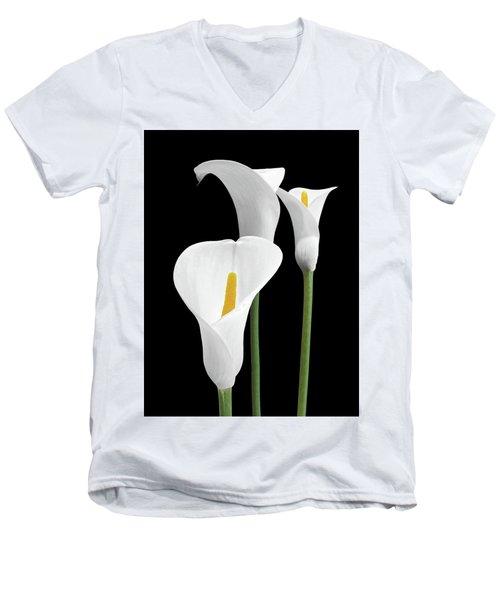 White Calla Lilies Men's V-Neck T-Shirt by Gill Billington