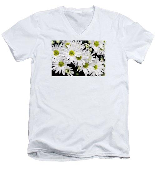 White Chrysanthemums Men's V-Neck T-Shirt