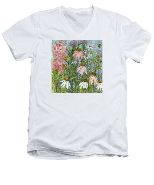 White Coneflowers In Garden Men's V-Neck T-Shirt