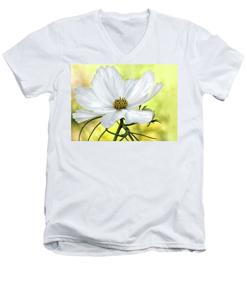 White Cosmos Floral Men's V-Neck T-Shirt