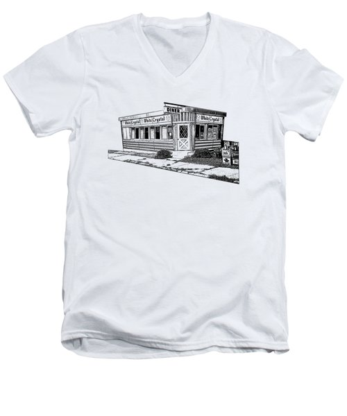 Men's V-Neck T-Shirt featuring the drawing White Crystal Diner Nj Sketch by Edward Fielding