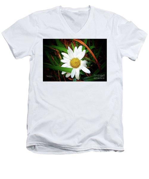 White Daisy Men's V-Neck T-Shirt