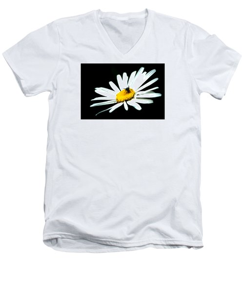 Men's V-Neck T-Shirt featuring the photograph White Daisy Flower And A Fly by Alexander Senin