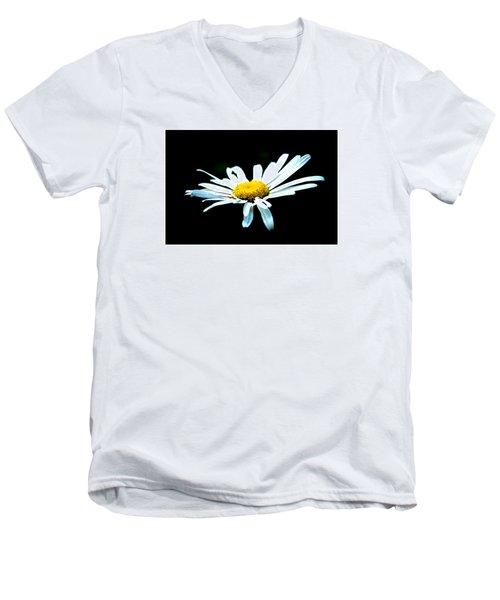 Men's V-Neck T-Shirt featuring the photograph White Daisy Flower Black Background by Alexander Senin