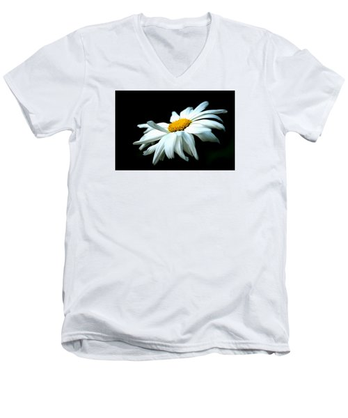Men's V-Neck T-Shirt featuring the photograph White Daisy Flower In The Wind by Alexander Senin