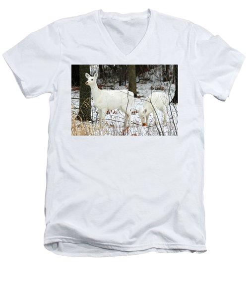 White Deer With Squash 4 Men's V-Neck T-Shirt by Brook Burling