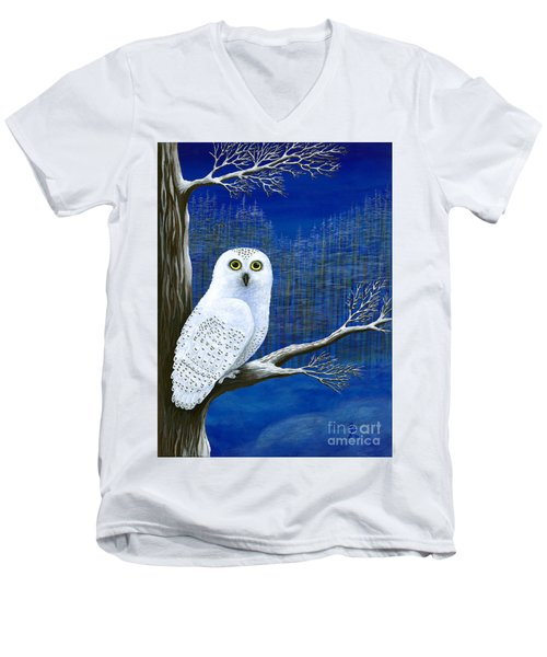 Men's V-Neck T-Shirt featuring the painting White Delivery by Rebecca Parker
