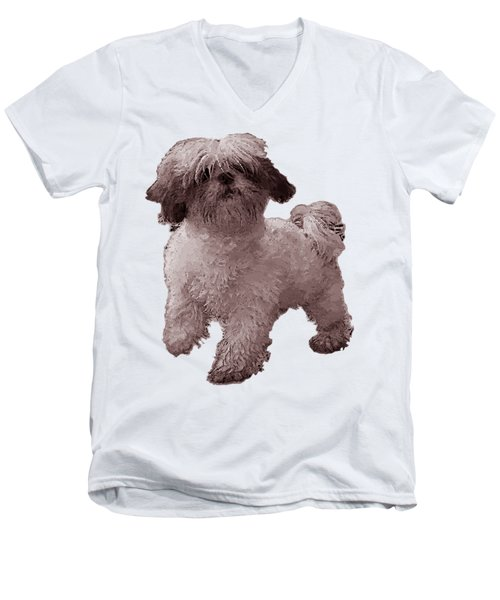 White Dog  Men's V-Neck T-Shirt