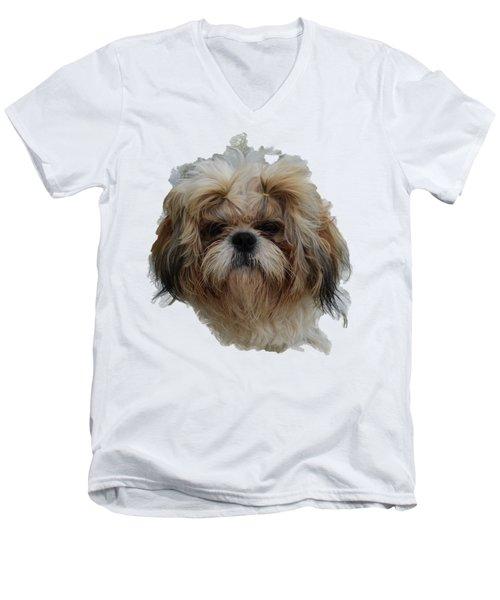 White Dog Head Men's V-Neck T-Shirt