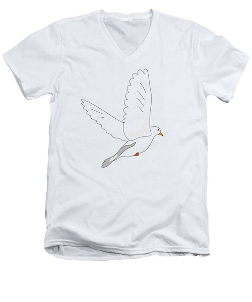 White Dove Men's V-Neck T-Shirt by Miroslav Nemecek