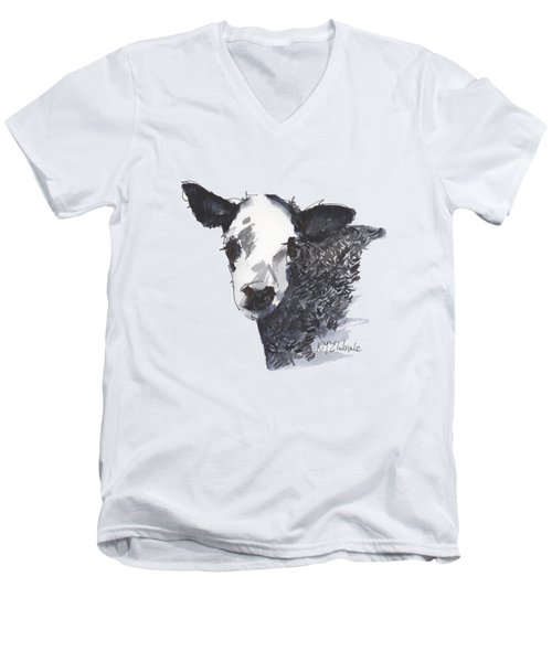 White Faced Hereferd Calf Baby Cow Men's V-Neck T-Shirt by Kathleen McElwaine