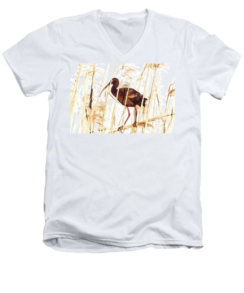 Men's V-Neck T-Shirt featuring the photograph White Faced Ibis In Reeds by Robert Frederick