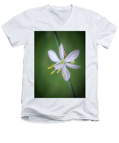 Men's V-Neck T-Shirt featuring the photograph White Flower by Lynn Geoffroy