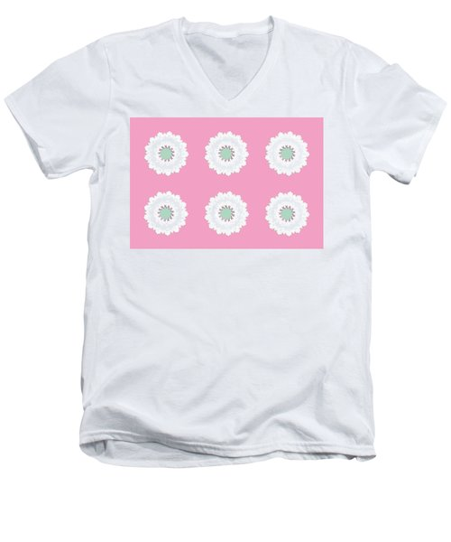 Men's V-Neck T-Shirt featuring the digital art White Flowers by Elizabeth Lock