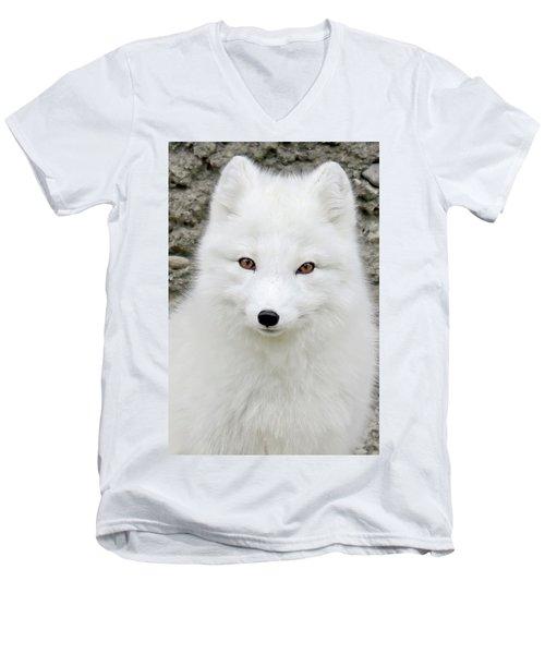 White Fox Men's V-Neck T-Shirt by Athena Mckinzie