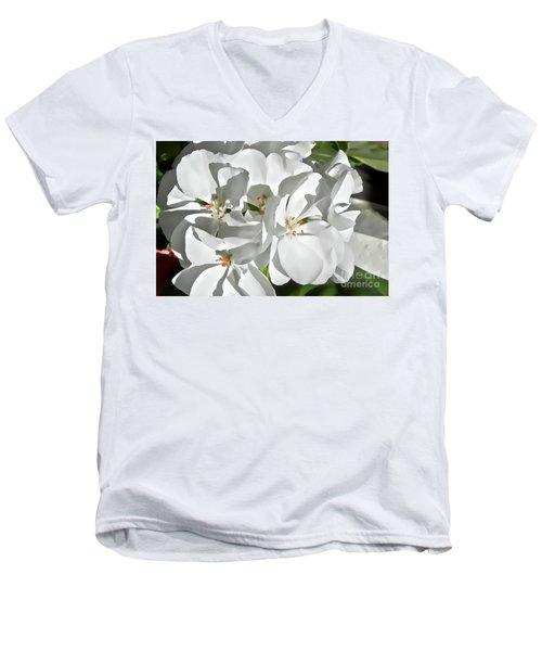 White Geraniums Men's V-Neck T-Shirt