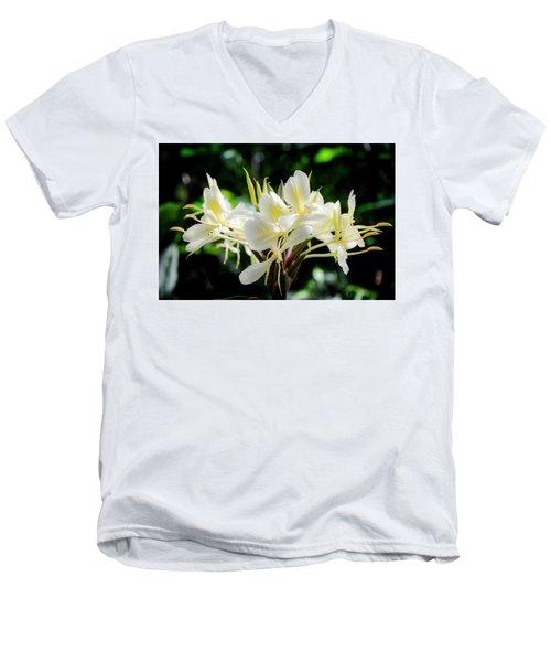 White Hawaiian Flowers Men's V-Neck T-Shirt