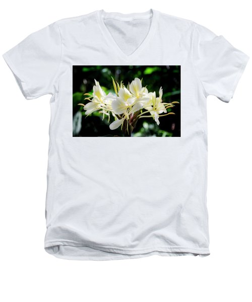 White Hawaiian Flowers Men's V-Neck T-Shirt