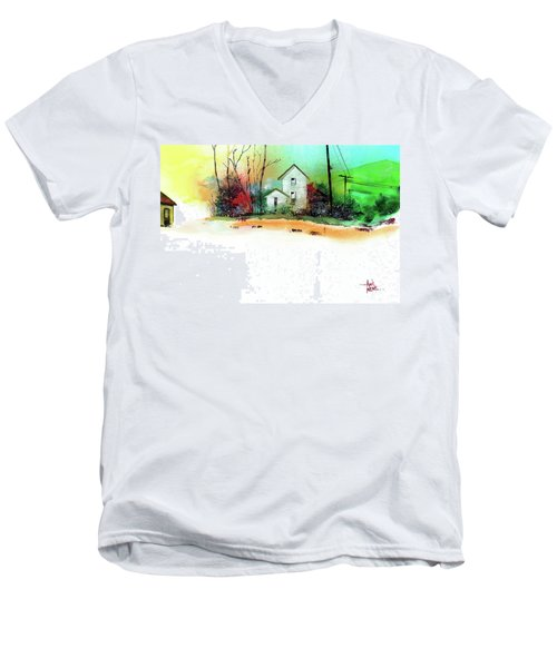 Men's V-Neck T-Shirt featuring the painting White Houses by Anil Nene