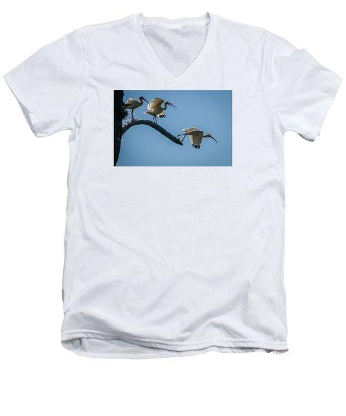 White Ibis Takeoff Men's V-Neck T-Shirt