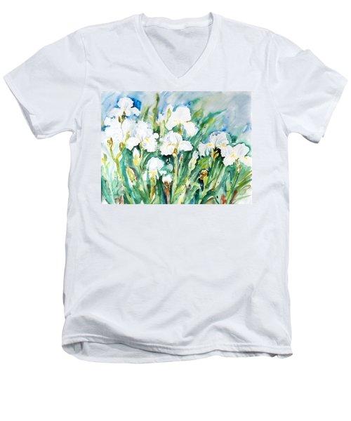 White Irises Men's V-Neck T-Shirt by Alexandra Maria Ethlyn Cheshire