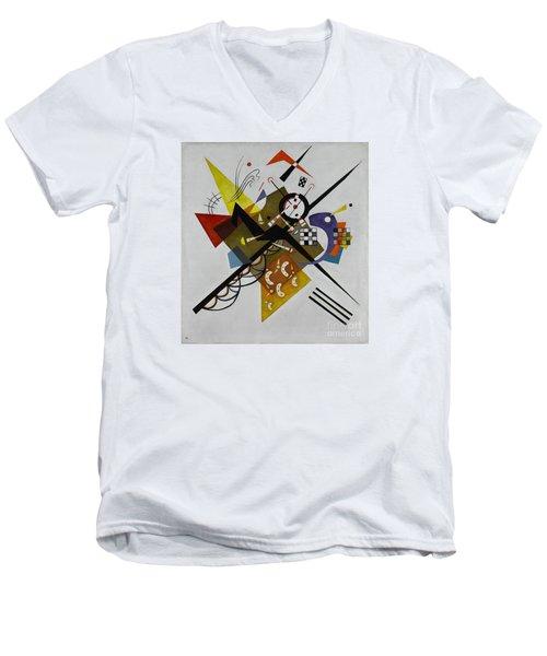 White Men's V-Neck T-Shirt by Kandinsky