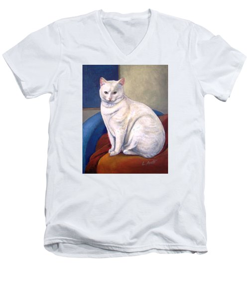 Men's V-Neck T-Shirt featuring the painting White Kitty by Laura Aceto