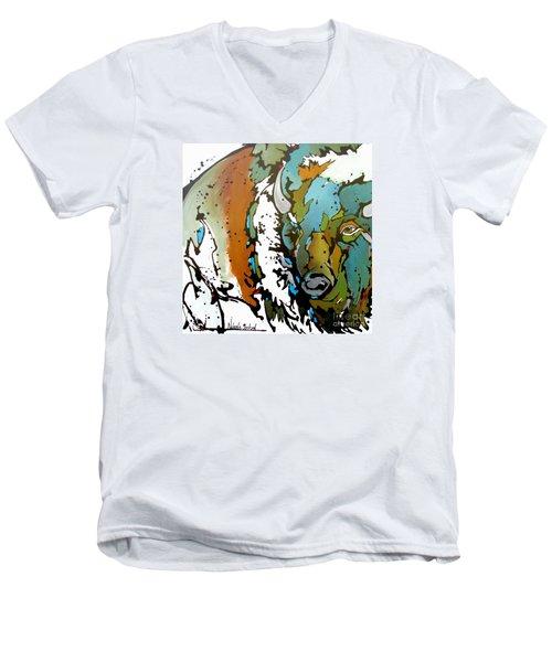 White Lightning Men's V-Neck T-Shirt by Nicole Gaitan