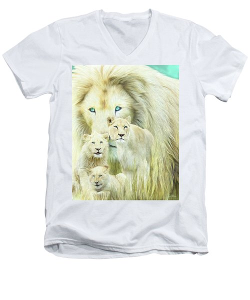 Men's V-Neck T-Shirt featuring the mixed media White Lion Family - Forever by Carol Cavalaris