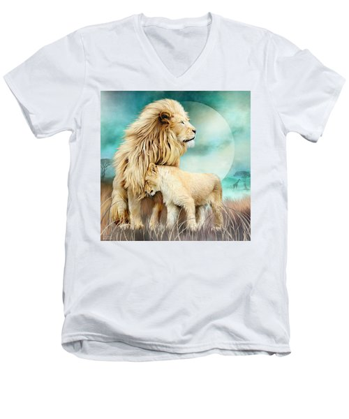 Men's V-Neck T-Shirt featuring the mixed media White Lion Family - Protection by Carol Cavalaris