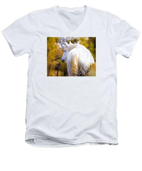 White Mustang Mare Men's V-Neck T-Shirt