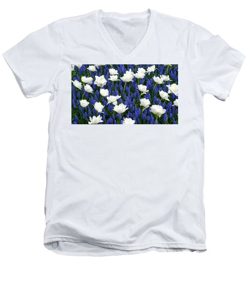White On Blue Men's V-Neck T-Shirt