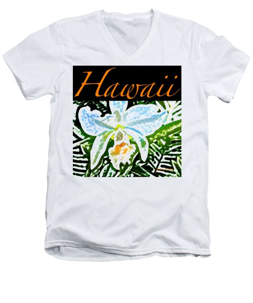 White Orchid T-shirt Men's V-Neck T-Shirt by James Temple
