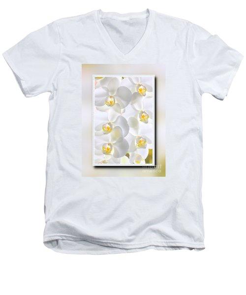 White Orchids Framed Men's V-Neck T-Shirt