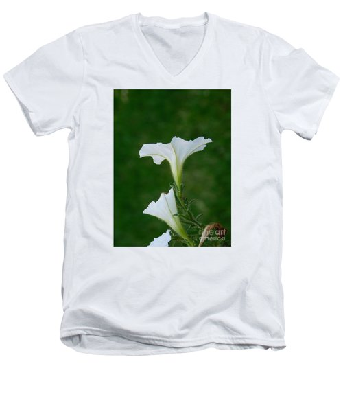 White Petunia Blossoms Men's V-Neck T-Shirt