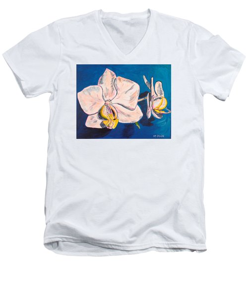 White Phalaenopsis Orchids Men's V-Neck T-Shirt