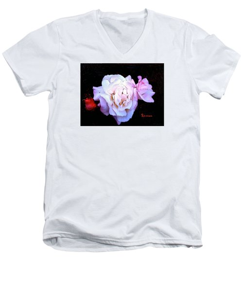 Men's V-Neck T-Shirt featuring the photograph White - Pink Roses by Sadie Reneau
