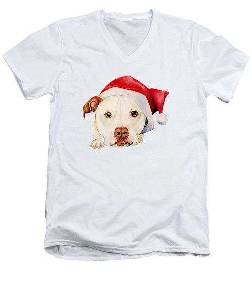 White Pit Bull Terrier Dog With Santa Hat Portrait Men's V-Neck T-Shirt