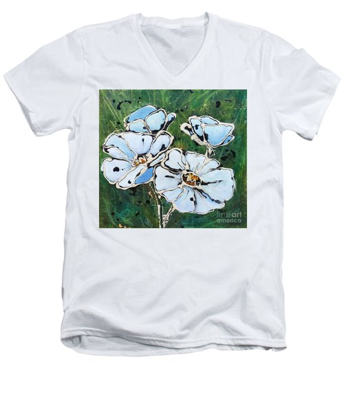 White Poppies Men's V-Neck T-Shirt by Phyllis Howard