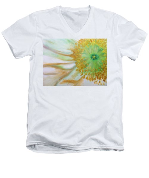 Men's V-Neck T-Shirt featuring the painting White Poppy by Sheron Petrie